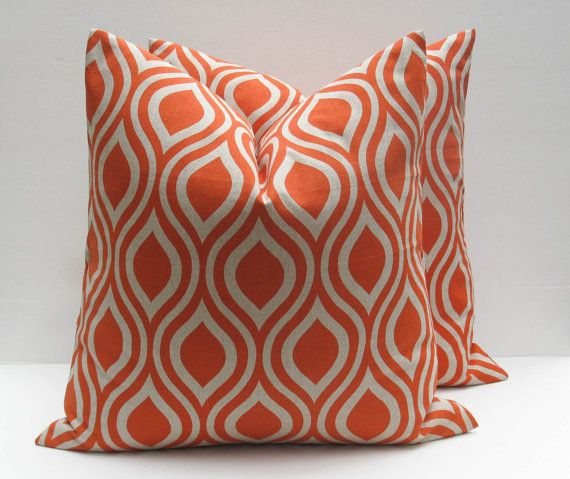 SALE Throw pillow covers 20 x 20 Orange Pillow Decorative Throw Pillows  Burnt Orange Pillow Print on both sides TWO Morrocan pillow