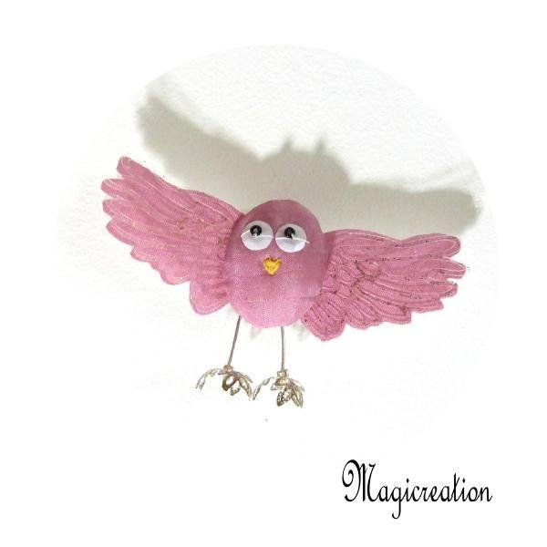 MAGNET OISEAU SOIE ROSE TENDRE - Boutique www.magicreation.fr