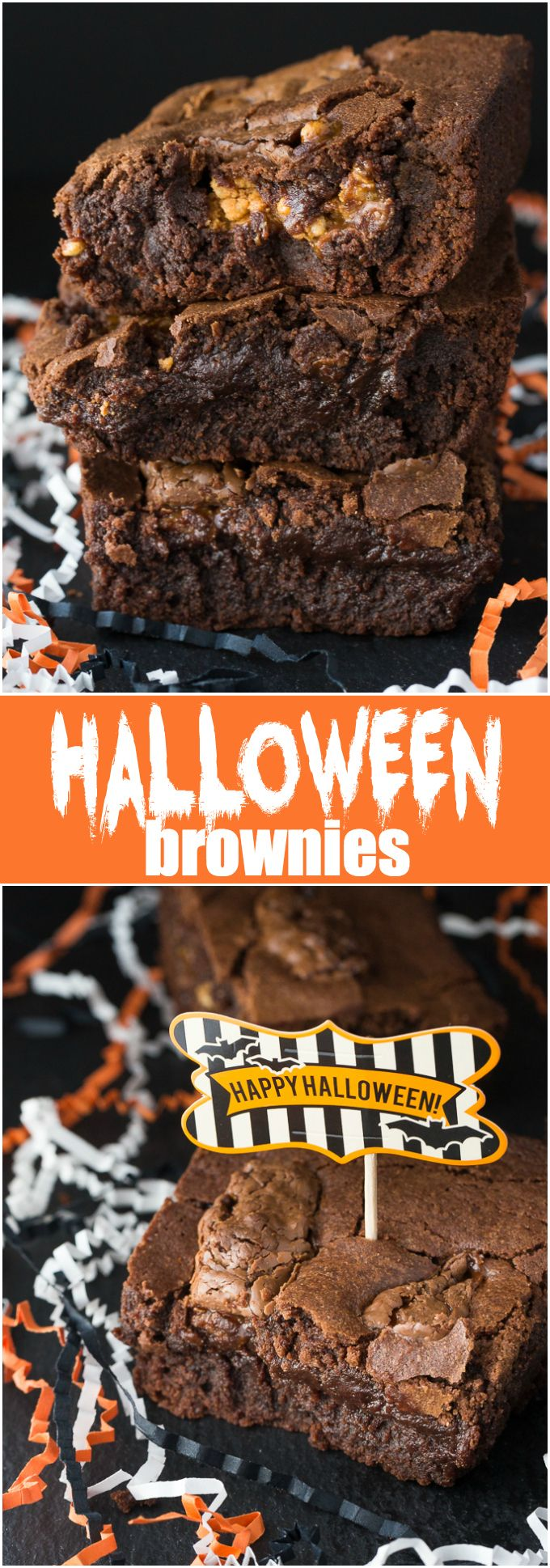 Halloween Brownies - Rich, fudgey and chewy. This is one of my favourite brownie recipes that I make over and over again for my family. #GhoulishGrub #ad