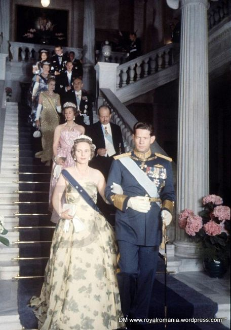 King Michael & Queen Anne among the invitees at the wedding of Don Juan Carlos of Spain (future King of Spain) & Princess Sophia of Greece. Athens, 14th May 1962.