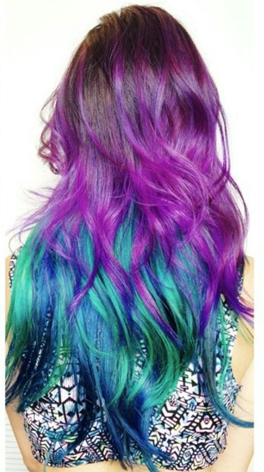 Purple green ombre dyed hair