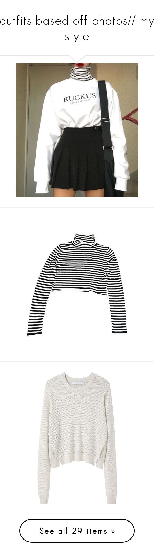 """""""outfits based off photos// my style"""" by dead-rhapsody ❤ liked on Polyvore featuring tops, shirts, crop top, sweaters, cropped tops, black and white striped shirt, turtleneck shirt, black and white shirt, shirt crop top and jumpers"""