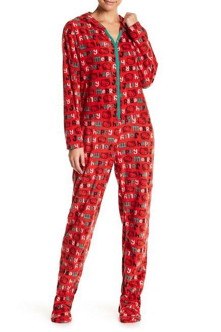 fbe919ab0 Hello Kitty Jolly Hello Kitty Print Hooded Jumpsuit! #affiliatelink #ad # hellokitty #sanrio #pajamas #pjs #womans #girls