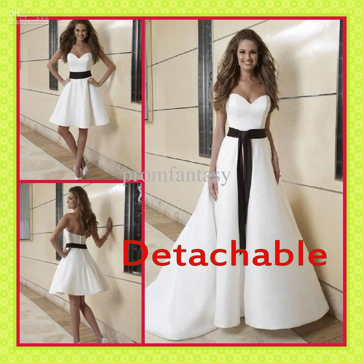 2017 White Black Two Piece Detachable A Line Skirt And Satin Fall Beach Wedding Dresses 2 In 1 Fashion Bridal Reception
