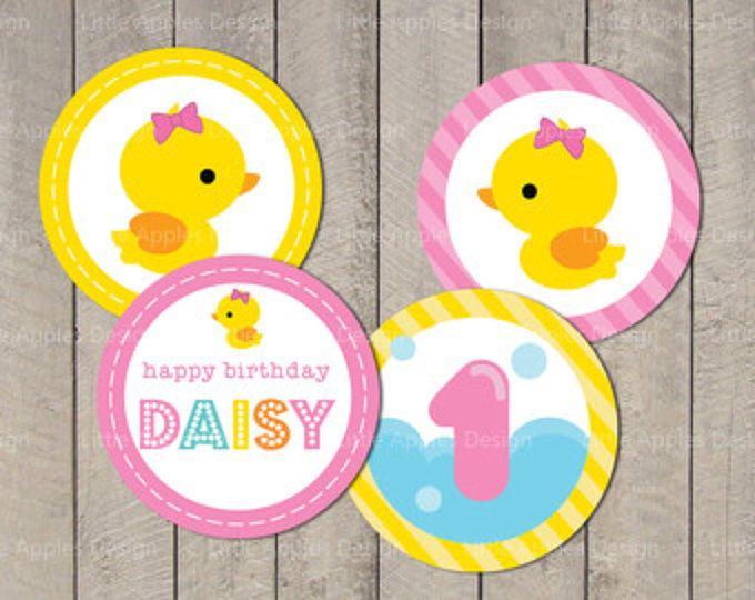 "Cupcake Topper eend / Rubber Duck Cupcake Topper / eend partij cirkel 2""/ Rubber Duck Party cirkel / Custom afdrukbare PDF DIY"