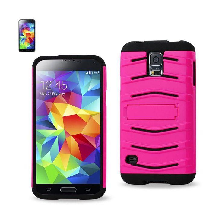Reiko Fish Bone Pattern Hybrid Case For Samsung Galaxy S5 Black Hot Pink With Horizontal Kickstand