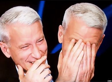 Anderson Cooper giggling on-air
