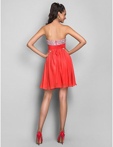 Homecoming Sweet 16/Cocktail Party/Homecoming/Prom Dress - Watermelon A-line/Princess Strapless/Sweetheart Short/Mini Chiffon – CAD $ 166.79