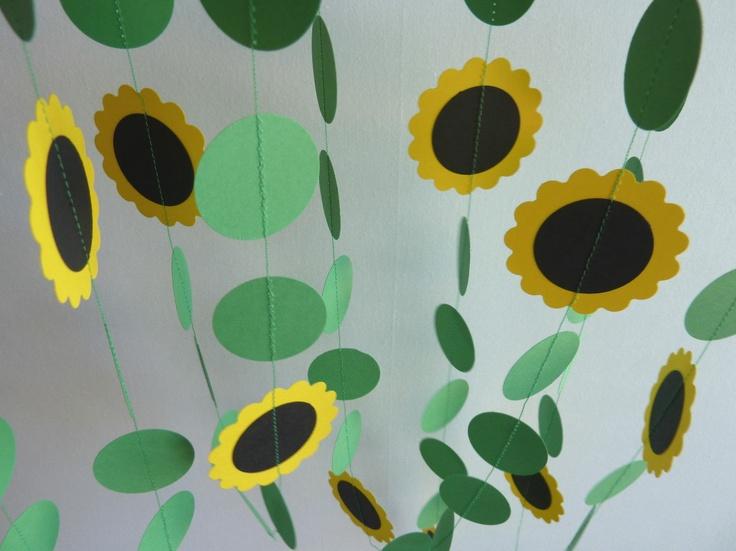 Sunflower Birthday Garland, black eyed susan, garden party, yellow flowers, floral garland, girls birthday party