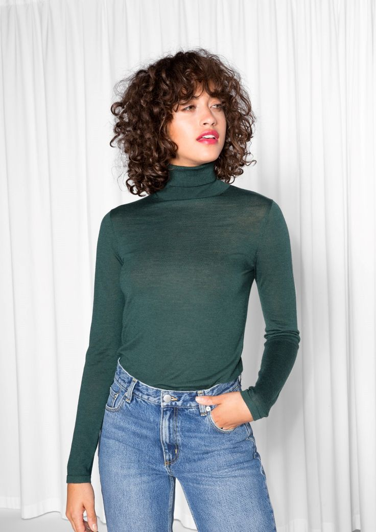 & Other Stories image 2 of Turtleneck Sweater in Dark Green