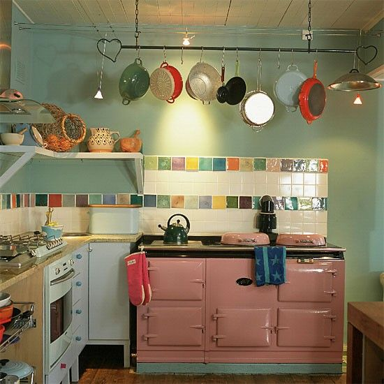 Colorful kitchen - another great stove (PINK!) and fun back splash!