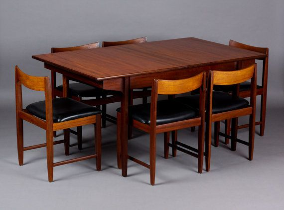 Vintage Danish Modern / Mid Century Teak Dining Table + Chair Set U2013 6 Low  Sculpted Back Dining Chairs W/ Black Vinyl Seats On Etsy, $1,895.00 |  Pinterest ...