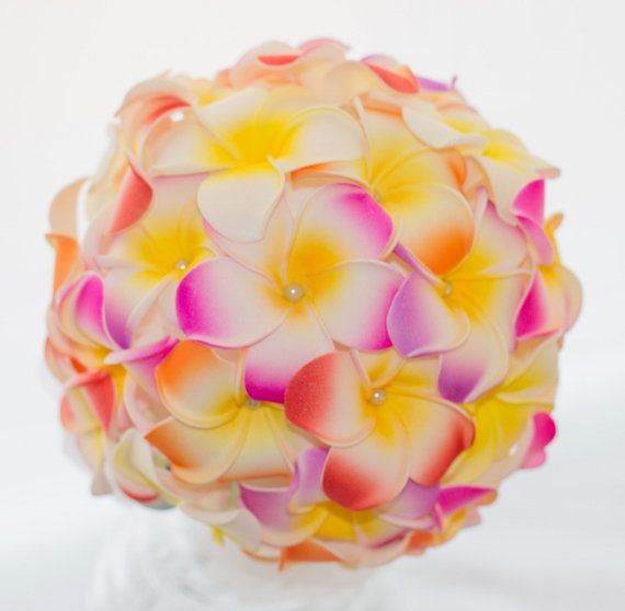 Beach wedding bouquet. Not real flowers - can you believe it! Frangipani Bridal Bouquet by TheLoveBucketSA on Etsy, $75.00