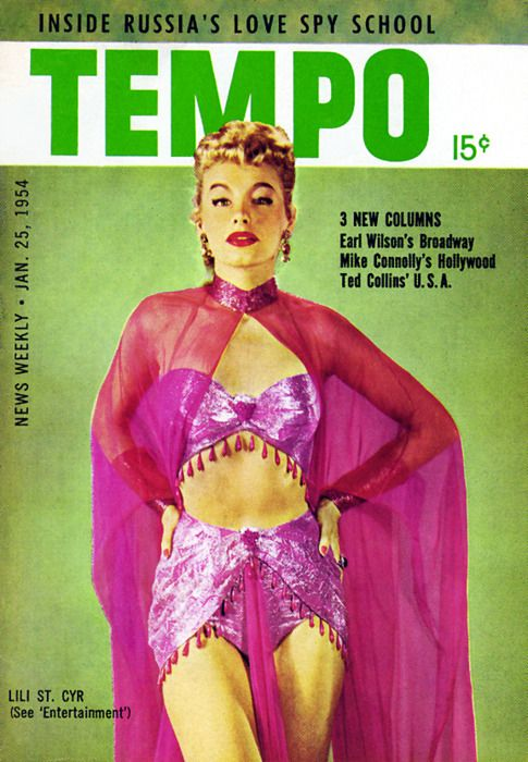 burleskateer:    Lili St. Cyr graces the cover of a January '54 issue of 'TEMPO' magazine; a popular Pocket Digest during the 1950's..: Pocket Digest, Vintage Magazine, 1950S, Popular Pocket, January 54, Cyr Graces