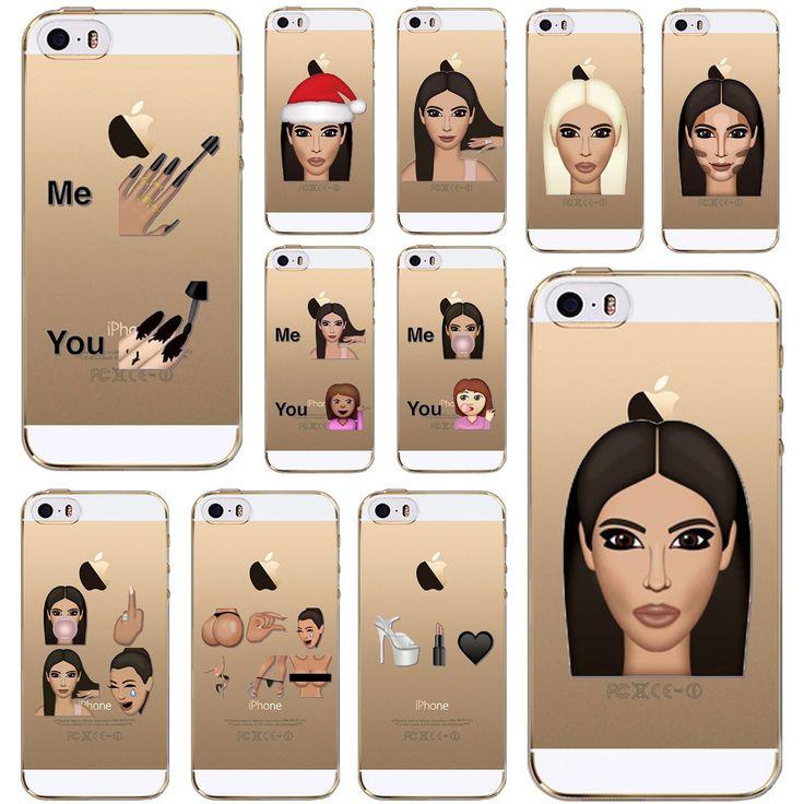 Funny Soft Clear Kim Kardashian Crying Face Emoji Case For iPhone 5 5s SE Ultra thin Kimoji TPU Mobile Phone Shell #Affiliate