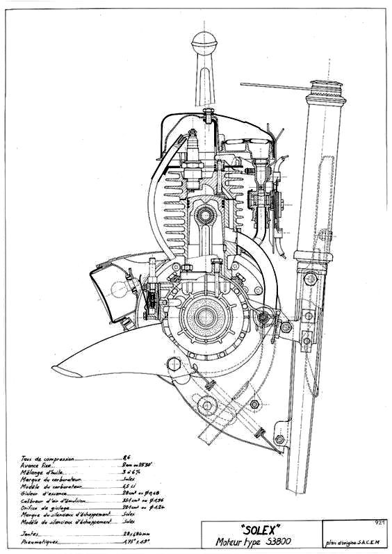 velo solex 3800 motorcycle engine cutaway illustration