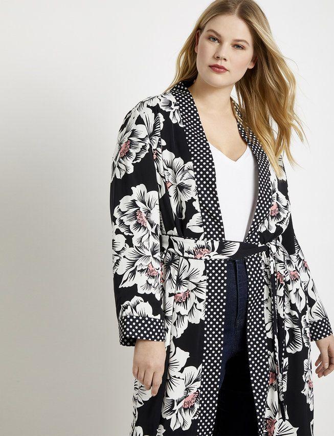 Mixed Print Duster | Women's Plus Size Coats + Jackets 2