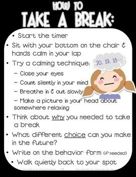 """Promote self control and implement logical consequences with this """"How to Take a Break"""" poster packet to support character education in your classroom.  This may be used with """"take a break"""", """"time out"""", and """"thinking chair"""" strategies.  Improve classroom management, teach your students to understand self control, reflect on their behavior, and build a safe and nurturing classroom enviroment.This 10-page packet provides full color and black & white posters."""