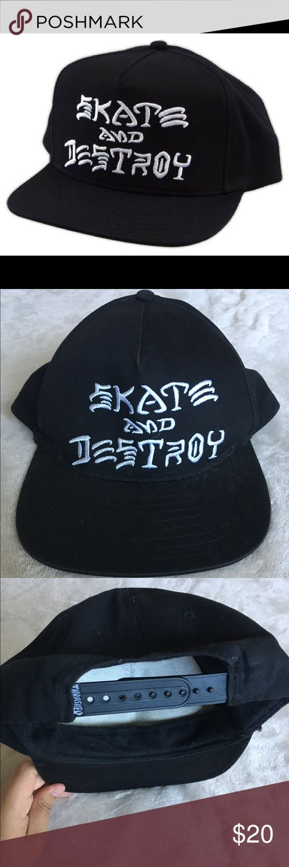 Thrasher Skate and Destroy Hat In good condition. I tried taking off the little fuzz due to it just sitting in my closet. Before I sent it out, I'll do my best to remove it all. Other than that, no signs of wear and tear. 100% Cotton Price FIRM. Thrasher Accessories Hats