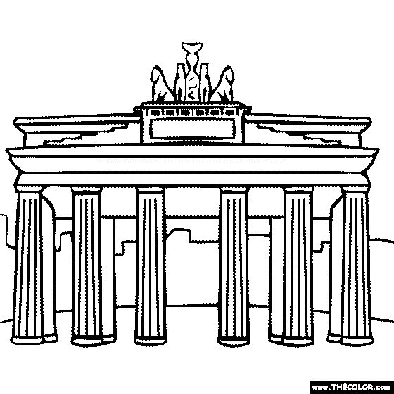 europe landmarks coloring pages | Brandenburg Gate Berlin Germany Coloring Page | Europe ...