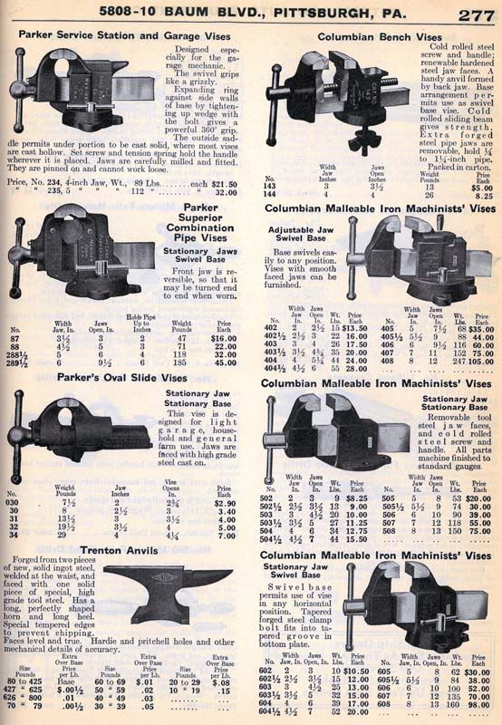 Vintage Vise Listings In 1920 S Catalogs The Garage