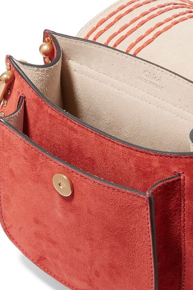 Chloé - Hudson Mini Whipstitched Suede Shoulder Bag - Red - one size