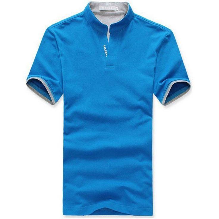 Men Cotton POLO Shirt V Neck Short Sleeve Shirts Clothes M- 3XL LM7993