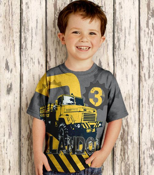 Etsy listing at https://www.etsy.com/listing/177417498/personalized-dump-truck-shirt-boys