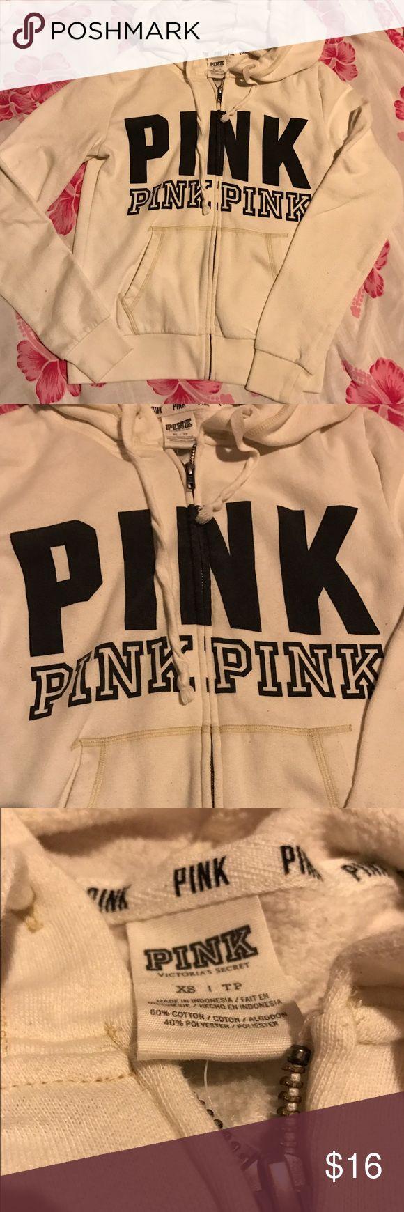 VS PINK X Small Hoodie Zip Up Cream Good condition. Pilling as pictured. PINK Victoria's Secret Tops Sweatshirts & Hoodies