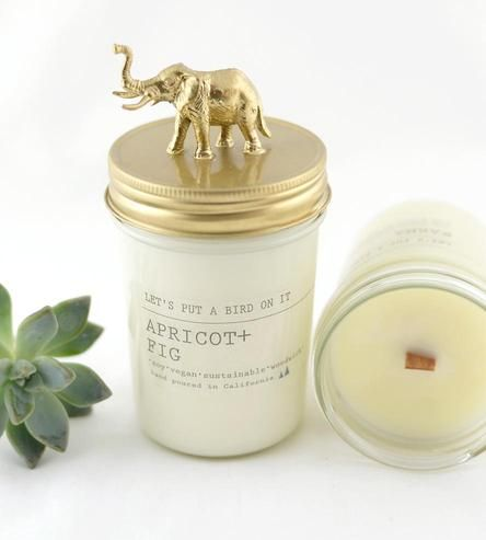 Elephant Lid Apricot Fig Scented Soy Candle by Let's Put a Bird On It.
