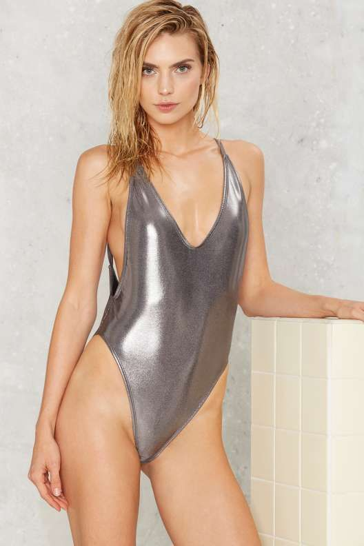 Nasty Gal Wet's the Idea Metallic Swimsuit