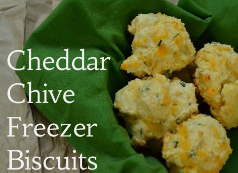 Cheddar Chive Freezer Biscuits - the dough is made ahead, scooped into ...
