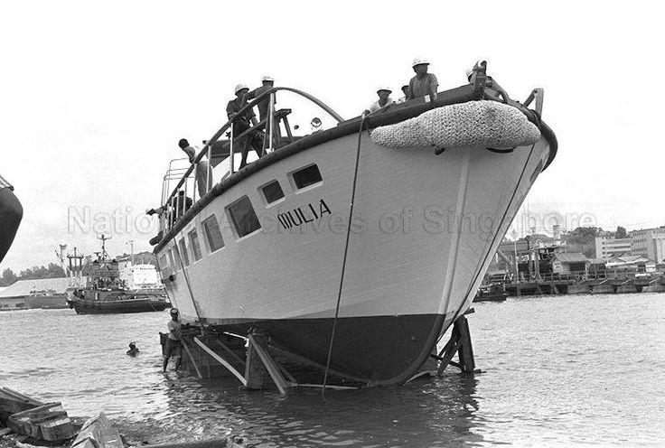 LAUNCHING OF THE PORT OF SINGAPORE AUTHORITY'S VIP CRUISE SHIP 'MULIA' AT PULAU BRANI SLIPWAY. COSTING ABOUT $250,0000 , IT WILL BE USED FOR TAKING VIPS ON TOURS AROUND THE HARBOUR AND OTHER AREAS.- 1973