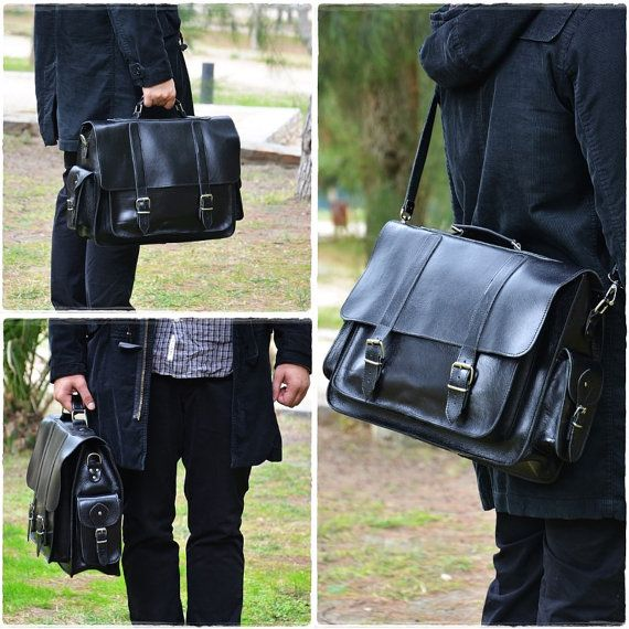 Black Leather Messenger Bag 17 inch Laptop Bag by Leatherhood
