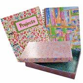 Decopatch-Stationery makeover revamped books.