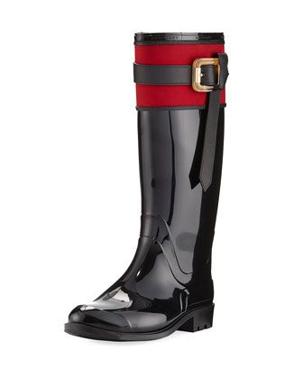 Rubber+Rain+Boot+with+Heart+Print,+Black+by+Burberry+at+Neiman+Marcus+Last+Call.