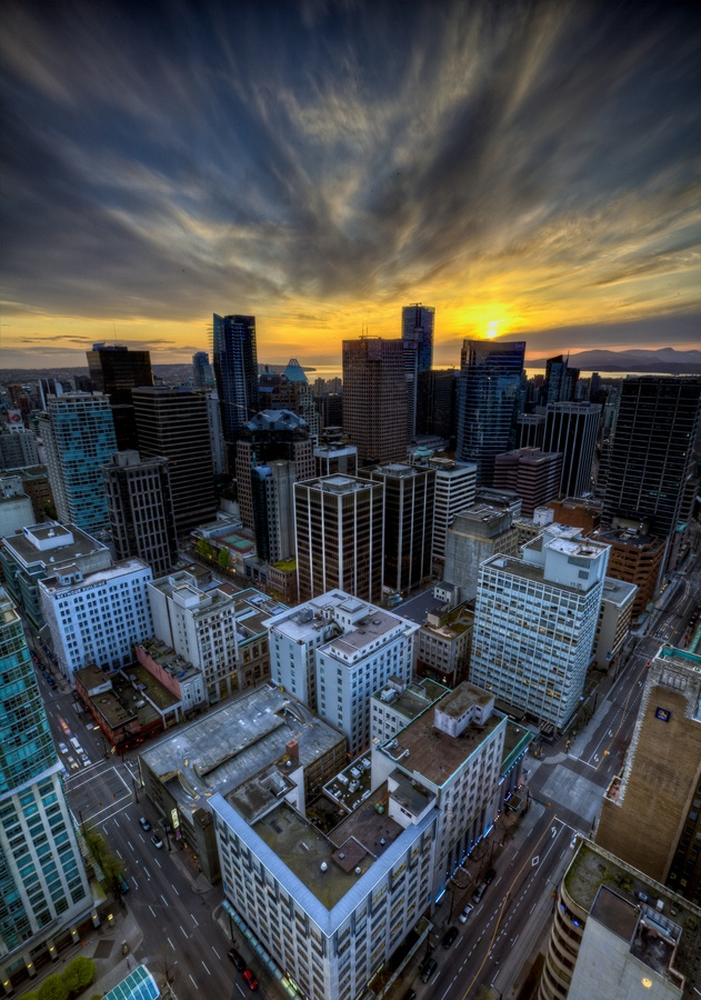 #Vancouver Downtown #Sunset from above