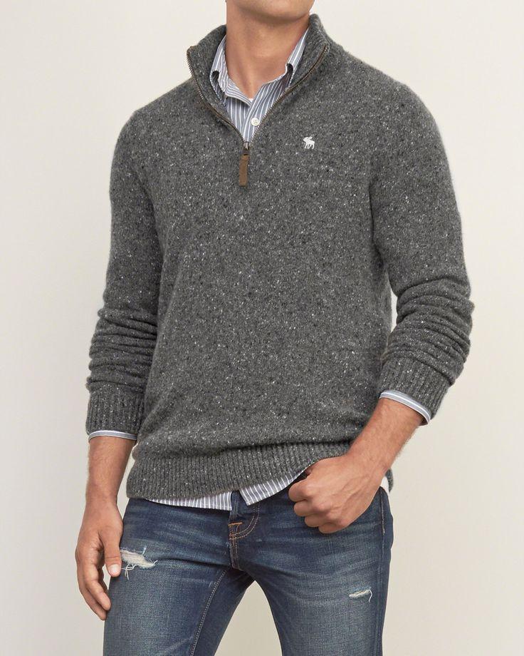 Mens Iconic Quarter Zip Pullover | Mens Sweaters | Abercrombie.com