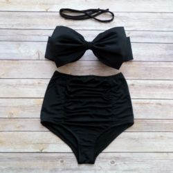 Stylish Black High Waist Plus Size Bikini