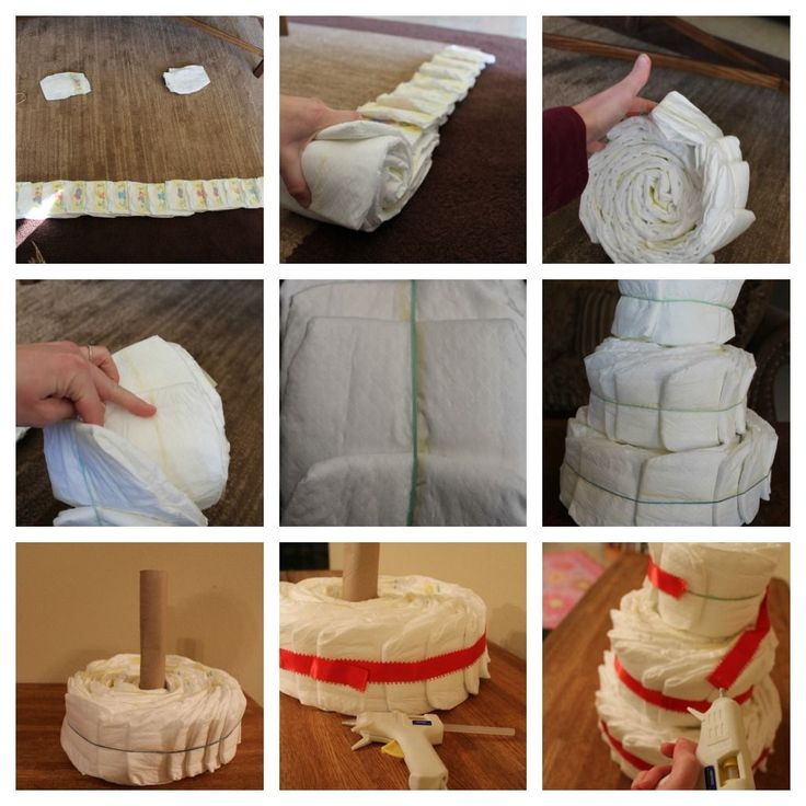 Easy diaper cake for a baby shower - I did a baseball theme but you could change it for any theme.