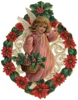 Vintage little girl Christmas angel surrounded by a wreath of holly