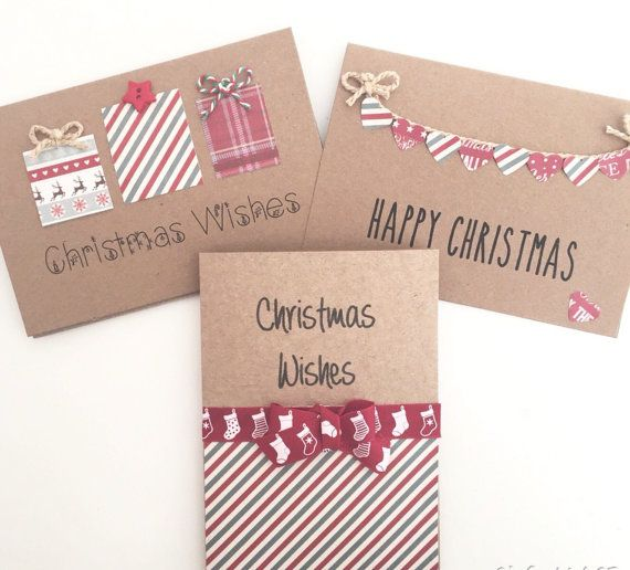 Pack of Christmas cards DETAILS - 3 brown cards and 3 brown thick envelopes. - The card is blank inside for your own message. - Approx Size:
