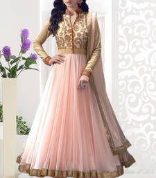 Buy light peach embroidered net semi stitched salwar with dupatta collar-neck-design online