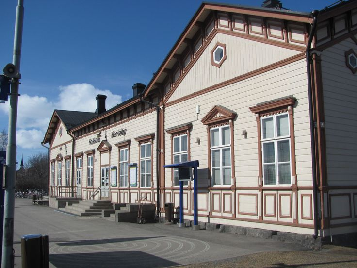 Kokkola, Finland. The old and beautiful railway station of wood.