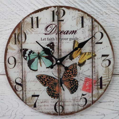 Vintage style glass butterfly and dream clock.