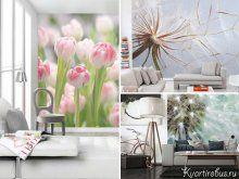 Фотообои в гостиную цветы под стиль интерьера: Фото 1