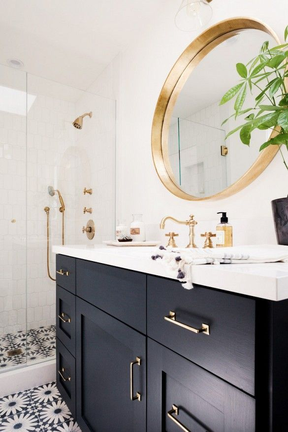 Photo Image How to Keep Your Home From Looking Dated Black Cabinets BathroomNavy