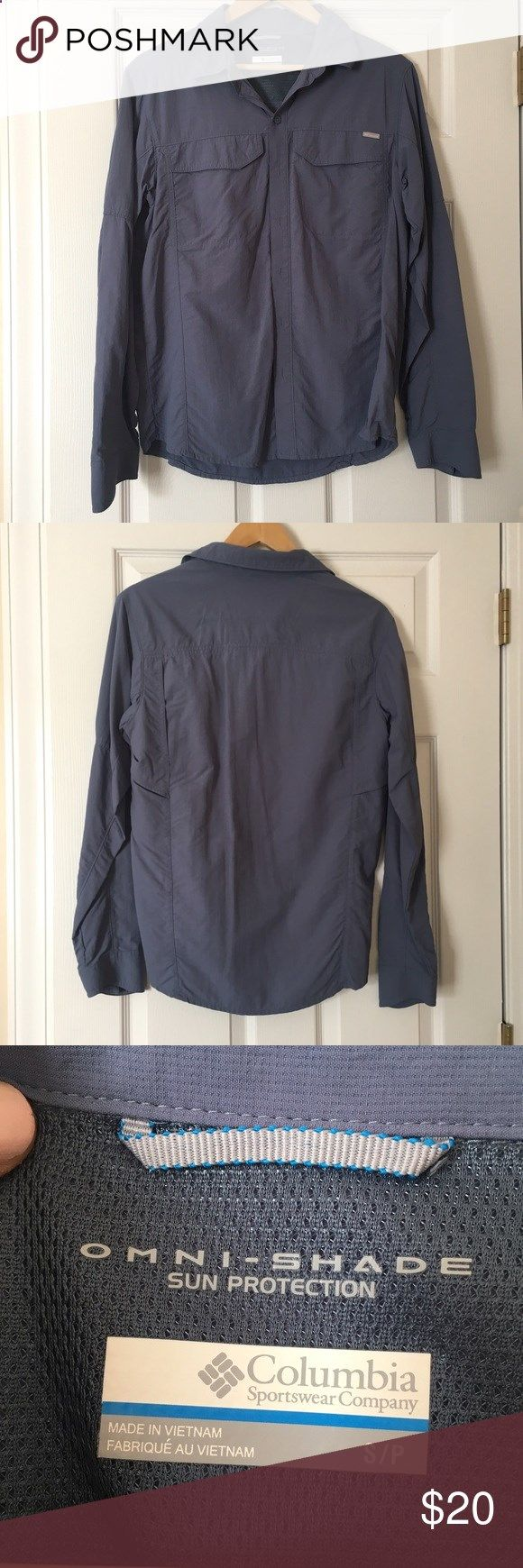 Fishing Shirts - Slate Blue Columbia Fishing Shirt MENS SMALL!!! Worn as a cover up and with athletic shorts for fishing! Columbia Tops Tees - Long Sleeve