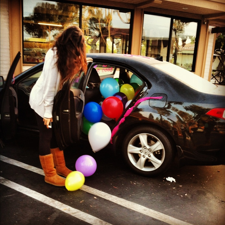 Car Full Of Surprise Birthday Balloons!