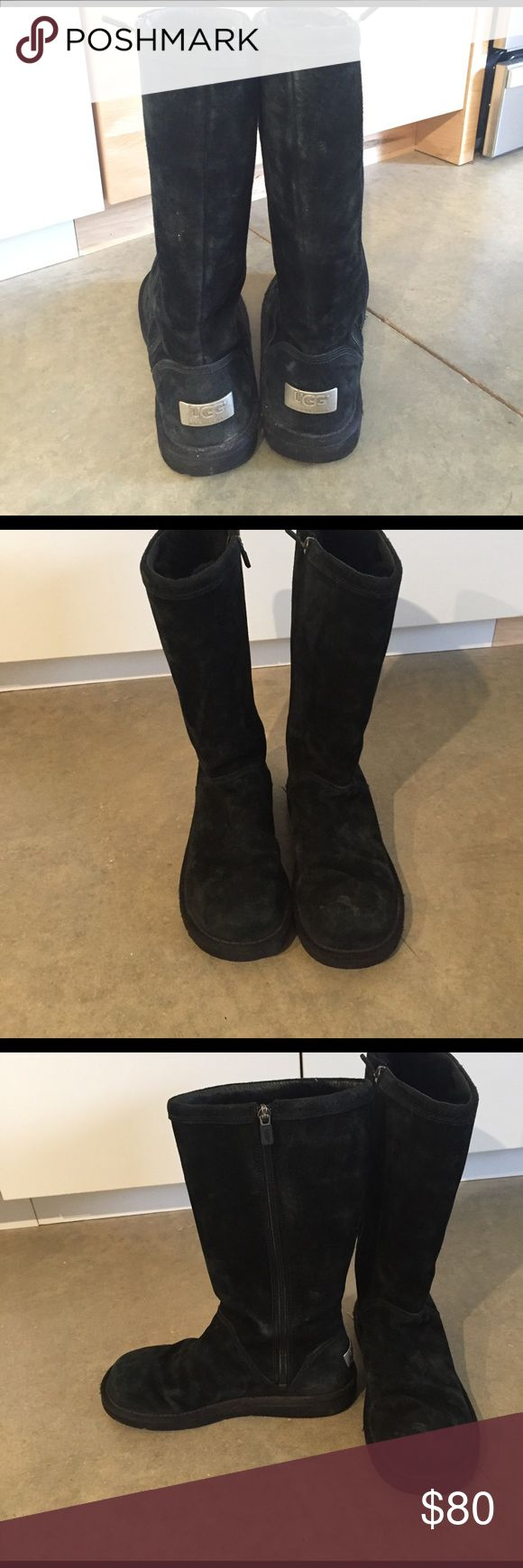 Tall UGG boots Size 8 Black UGG boots. Great condition just need to be cleaned on the outside! UGG Shoes Winter & Rain Boots